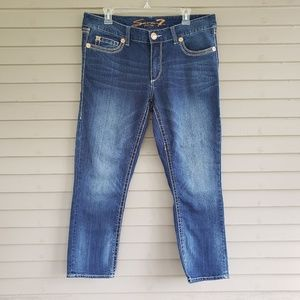 Seven7 Cropped Skinny Blue Jeans Size 14